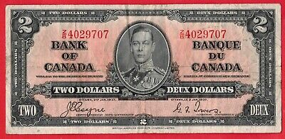 1937 $2 Bank of Canada Note Coyne-Towers First Prefix Z/B BC-22c - F/VF