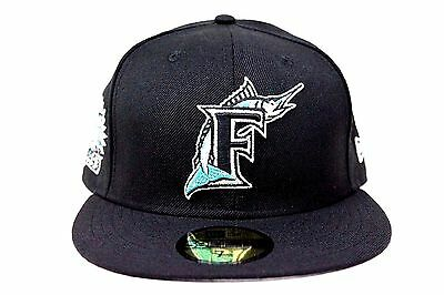 038c3851a FLORIDA MARLINS BLACK 1993 Inaugural Year Side Patch New Era 59Fifty Fitted  Hat