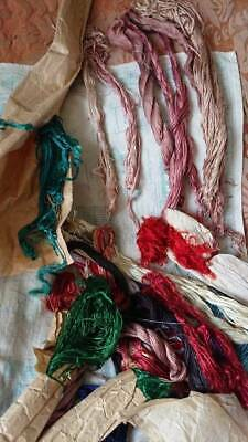 SUPERB SKEINS ANTIQUE FRENCH PURE SILK EMBROIDERY THREADS UNUSED c1880 HAND DYED