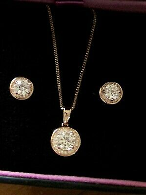 H Samuel Rose Gold Plated Sterling Silver  Halo Necklace & Earrings Set Bnib