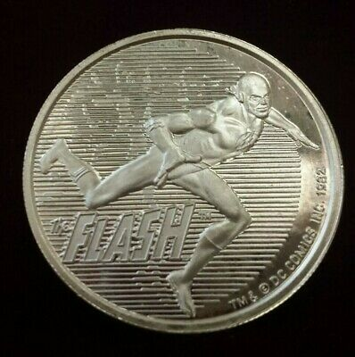 1982 Cartoon Celebrities 1 Troy Oz .999 Fine Silver Art Coin - The Flash
