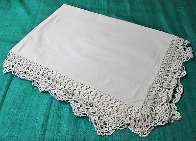 Antique Beautiful Sheet Hand Crocheted Trim Classic Elegance