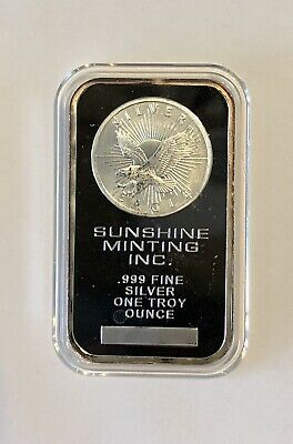 1 Oz Silver Bar Sunshine Minting 999 Fine In Capsule
