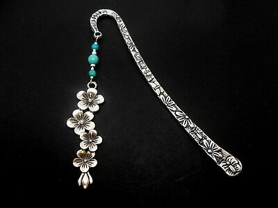 A Tibetan Silver & Turquoise Bead  Flower  Charm  Bookmark. New.