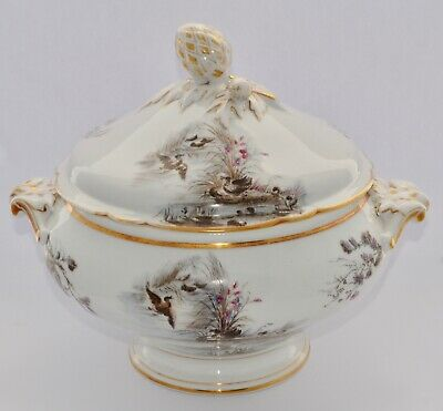 Large Antique French Lidded Tureen - Game Birds - Pine Cone Finial