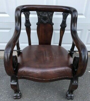 Antique Karpen? Mahogany? Scrolled Arm Chair