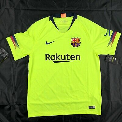 low priced bc657 31ecf NIKE 2018/19 FC Barcelona Away Stadium Soccer Jersey Volt Blue 918990-703  Mens L