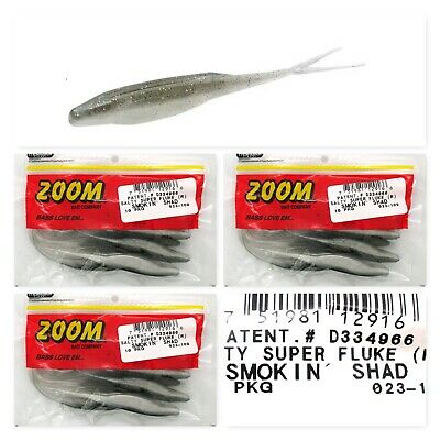 """Zoom Bass Fishing Salty Super Tube 3.75/"""" Smoken Candy 8 PKG Lot of 2"""