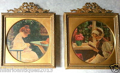 Antique Pair French Hand Painting Colored Drawing Miniature Gilt Bronze Frame