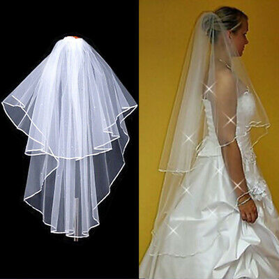 New 2 Tier White/Ivory Wedding Prom Bridal Veil With Comb Elbow Length Crystals