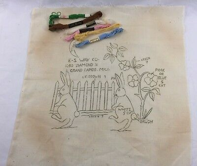 "1930s Stamped Embroidery Panel & Floss ""Rabbits w/ Fence"" 1312F"
