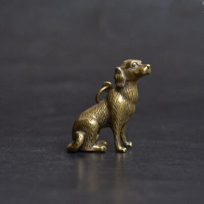 Chinese Old Collectibles pure brass lucky Zodiac dog statue pendant