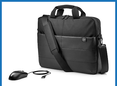 """HP 1FK06AA 15.6"""" Classic Briefcase Carry Case Laptop Bag +  Optical Mouse  NEW"""