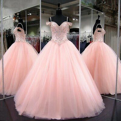 58e5f6469c Luxury Pink Quinceanera Dresses Ball Gown Crystal Beading Prom Sweet 16  Dresses