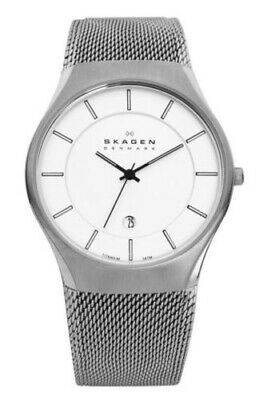 Skagen 956Xlttw Silver Titanium Case Steel Mesh Strap White Dial Men's Watch