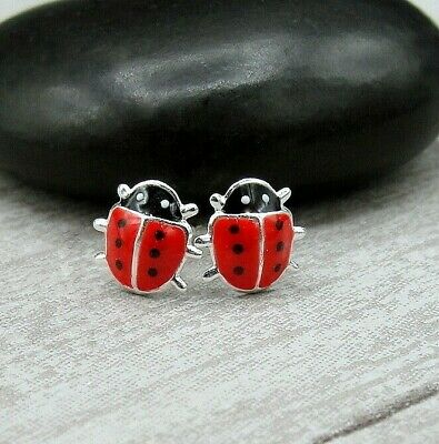 Red Ladybug Post Earrings - 925 Sterling Silver - Bug Insect Studs NEW