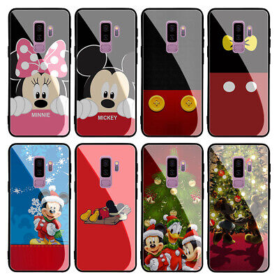 Mickey Minnie Mouse Tempered Glass Case for Samsung Galaxy S10 S9 S8 Note 9 8