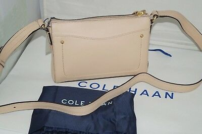 35d90a7385 NWT AUTHENTIC $238 COLE HAAN ESME Nude Leather Cross Body Bag ...