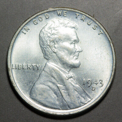 🔥 1943-D STEEL Lincoln Wheat Cent - PULLED FROM BU ROLL.  UNC