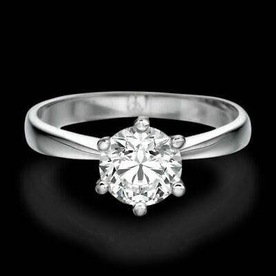 3/4 CT Solitaire Diamond Engagement Ring Enhanced Round Cut D/VS2 14K White Gold