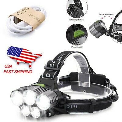 150000LM 5x T6 LED 6-Mode Headlamp Headlight Head Torch Rechargeable Flashlight