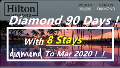 Hilton Diamond Status (90 days trial, can be extended to Mar 2020)