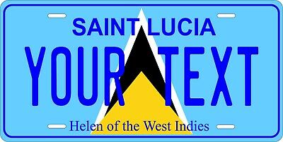 Saint Lucia Flag License Plate Personalized Car Auto Bike Motorcycle Custom Tag