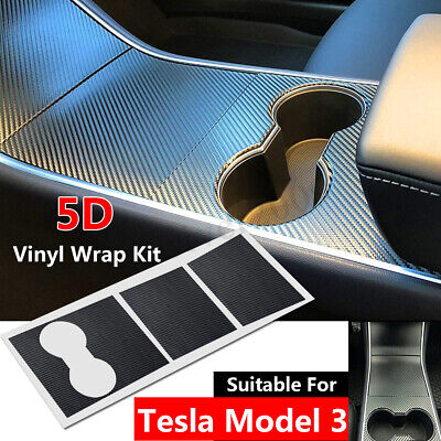 Car Center Console Wrap Kit for Tesla Model 3 5D Carbon Fiber Black Vinyl Auto