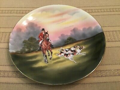 Vintage Royal Bayreuth Bavaria Porcelain Plate Fox Hunt Hunting Scene