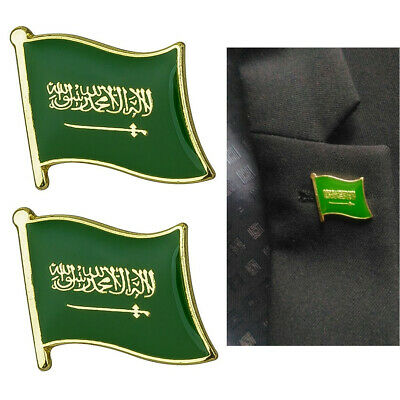 2 x Saudi Arabia Country Flag Lapel Pin Hat Cap Clothes Jacket Badge Accessory