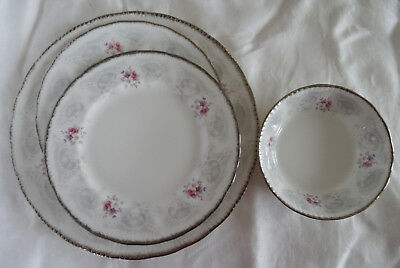 Paragon England  BRIDAL LACE 4 pc  Dinner  Salad Plate Fruit Nappy Bowl