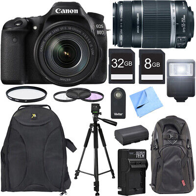 Canon EOS 80D CMOS DSLR Camera w/ EF-S 18-135mm IS USM Lens Photography Bundle