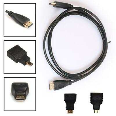 0.5M 3in1 HDMI to HDMI/Mini/Micro HDMI Adaptor Cable Kit HD for Tablet PC TV UK