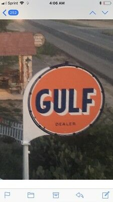 Vintage Original 6'Gulf Gas Station Porcelain Sign with frame and Pole