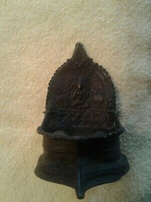Very unusual antique bronze Buddhist lamp made out of bronze Buddha and elephant