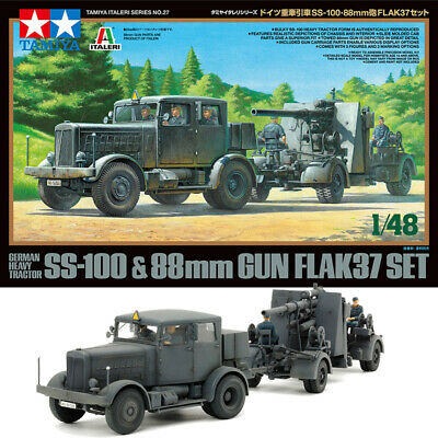 TAMIYA 37027 SS-100 Heavy Tractor & 88mm Flak 37 Set 1:48 Military Model Kit