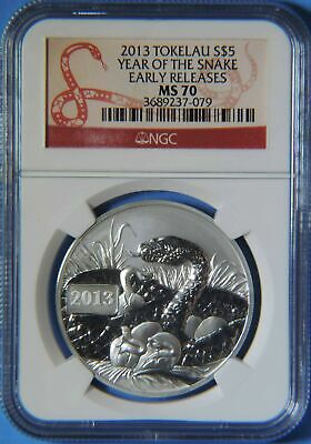 2013 Tokelau Year of the Snake Early Releases $5 1oz .999 Silver Coin NGC MS70