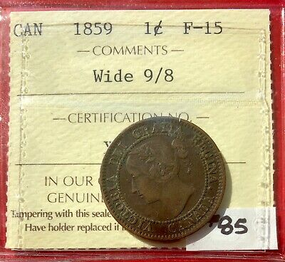 1859 Wide 9/8 Canada Large One Cent Penny Coin - ICCS F-15