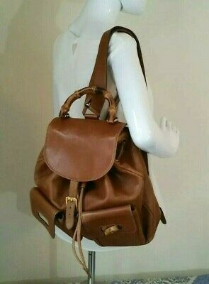 f27c8d192b115c Gucci Bamboo Brown Leather Medium Backpack Hand Bag Vintage Authentic