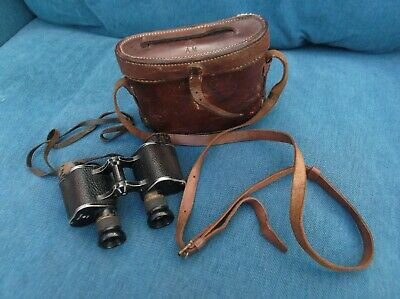 WW2 AM (Air Ministry) RAF Military binoculars + leather case. Matching pair.