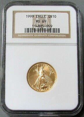 1999 Gold Us $10 Dollar American Eagle 1/4 Oz Coin Ngc Mint State 69