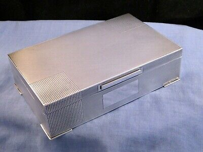 Superb And Clean Art Deco Sterling Silver Antique Table Cigarette Box Case 1947