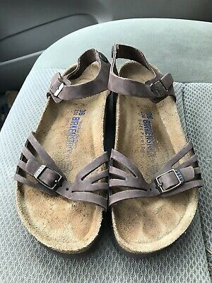 df0faa1c7488 Birkenstock Bali Habana Brown leather soft footbed ankle strap sandals 5 N    36