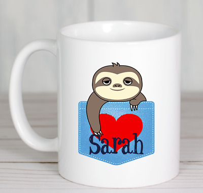 Sloth mug personalised animal novelty print ceramic ideal gift any name printed