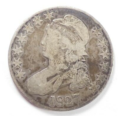 BARGAIN 1827 Capped Bust/Lettered Edge Half Dollar VERY GOOD Silver 50-Cents