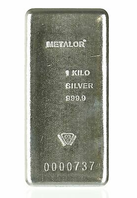 Lot of 2 - Kilo Silver Metalor Bars .9999 Well-Known LBMA/Comex Acceptable Brand