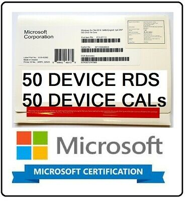 Microsoft Windows Server 2016 Standard 2CPU + 50 RDS DEVICE + 50 DEVICE CALs