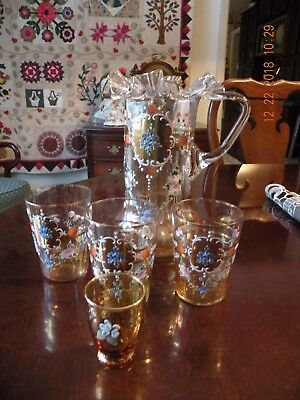 Antique Hand Painted Hand Decorated w/ Gold Blown Glass Pitcher & Glasses 5 pcs.