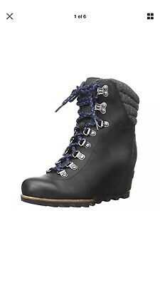 48823efc4cc4 Sorel Joan Of arctic Conquest Wedge Boots Womens Black Rainproof SOLD OUT