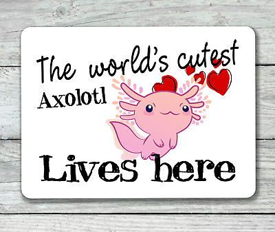 Axolotl lives here sign world's cutest hanging or fixed aluminium metal